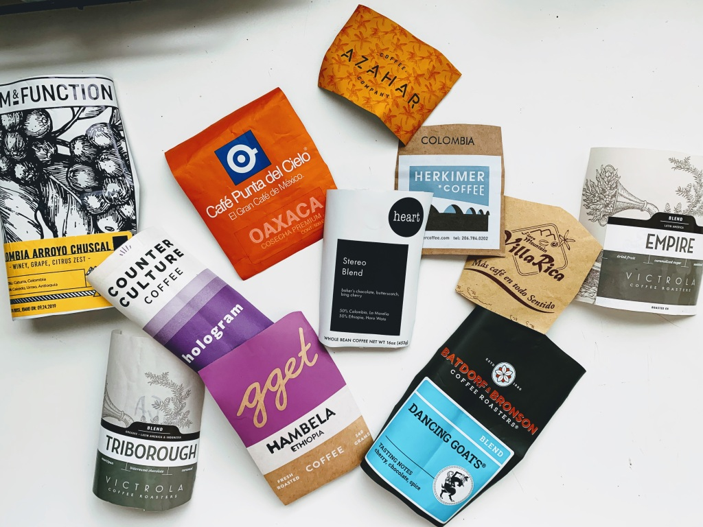 Assorted coffee bag labels