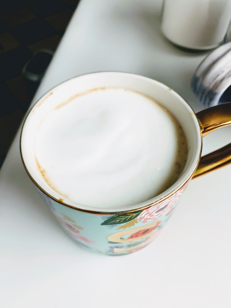 Close up of latte from above