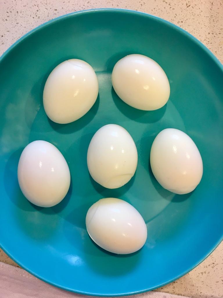 6 peeled boiled eggs.