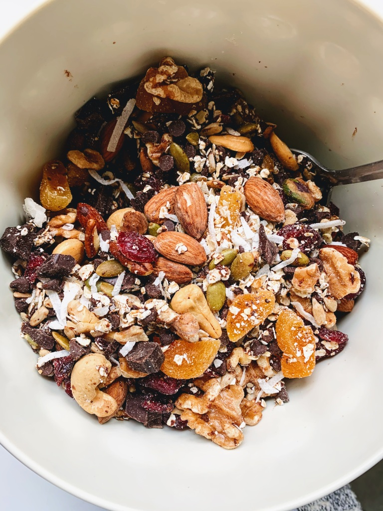 Mixed nuts & dried fruits mixed in a bowl