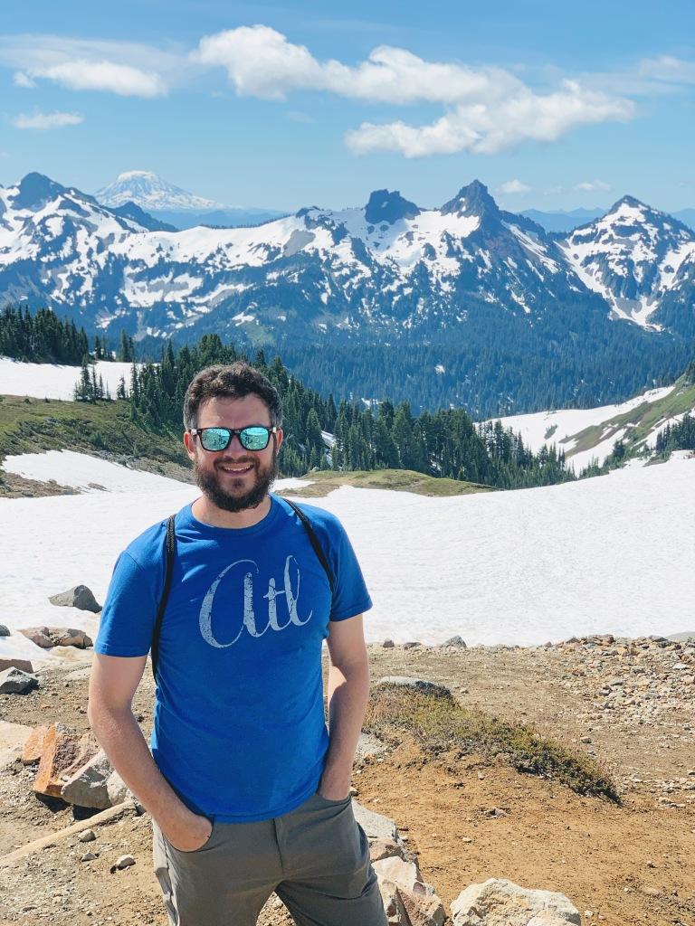 Matt with the Cascades & Mt. Adams