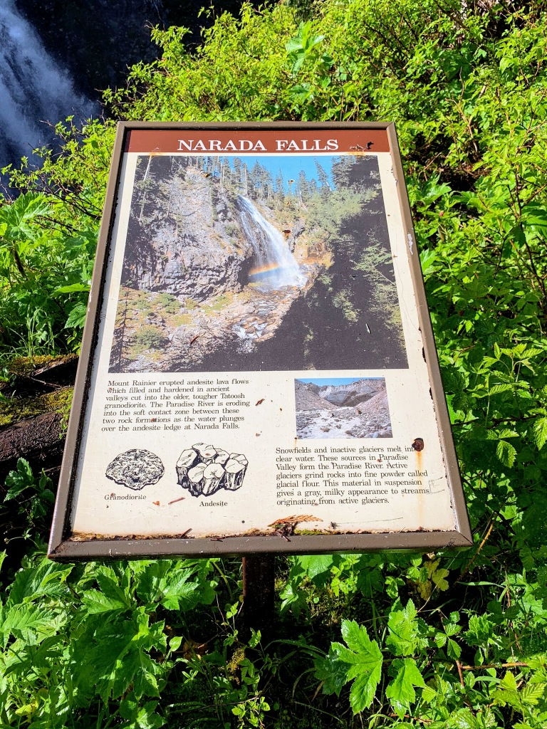 A posted sign about Narada Falls