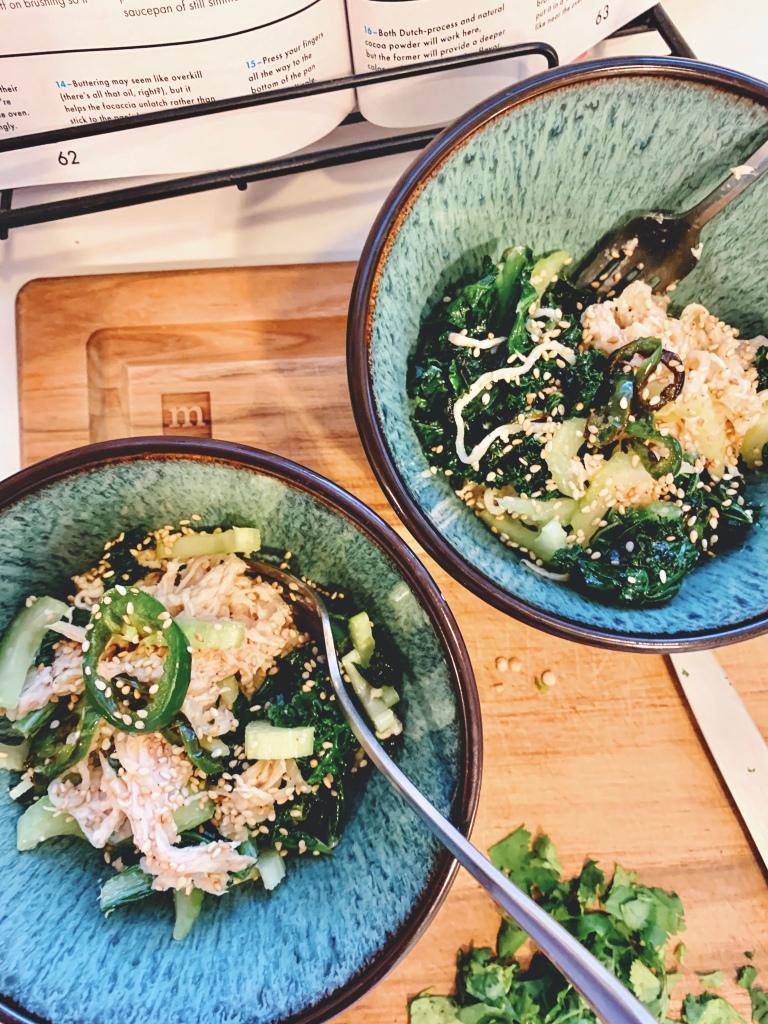 Two bowls of ramen & chicken