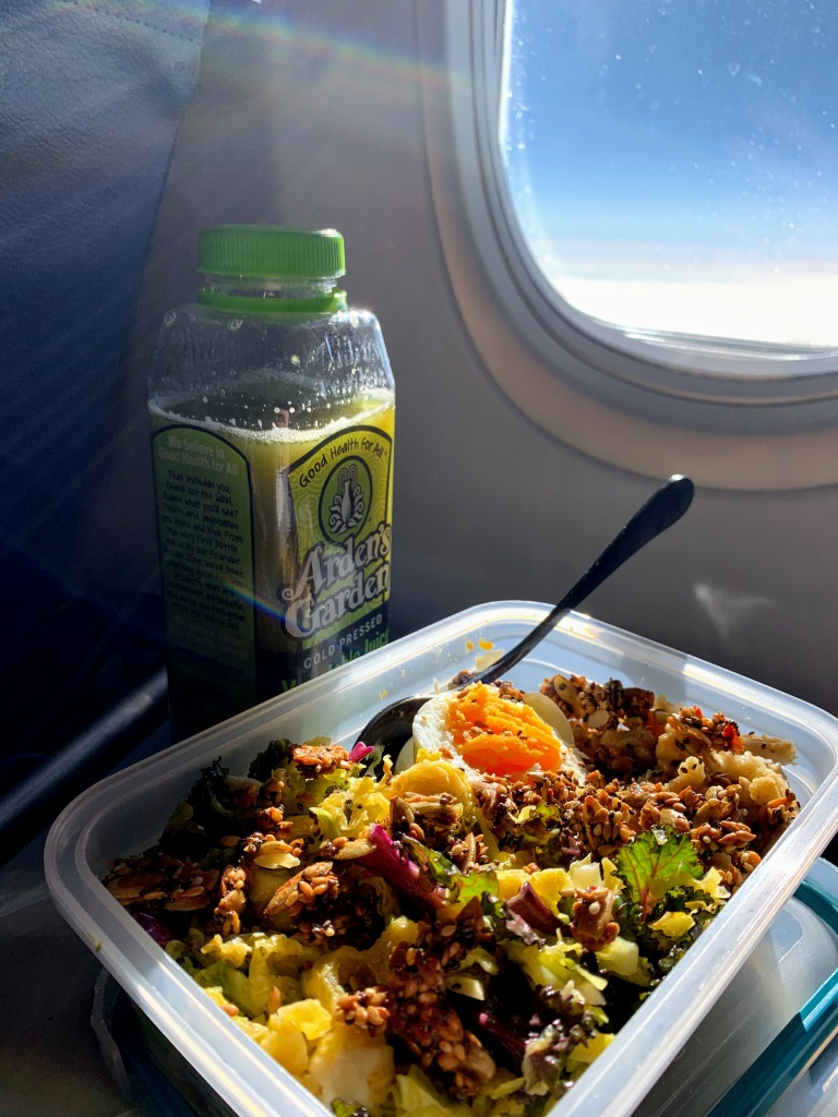 Eating my lunch on a tray table on the airplane