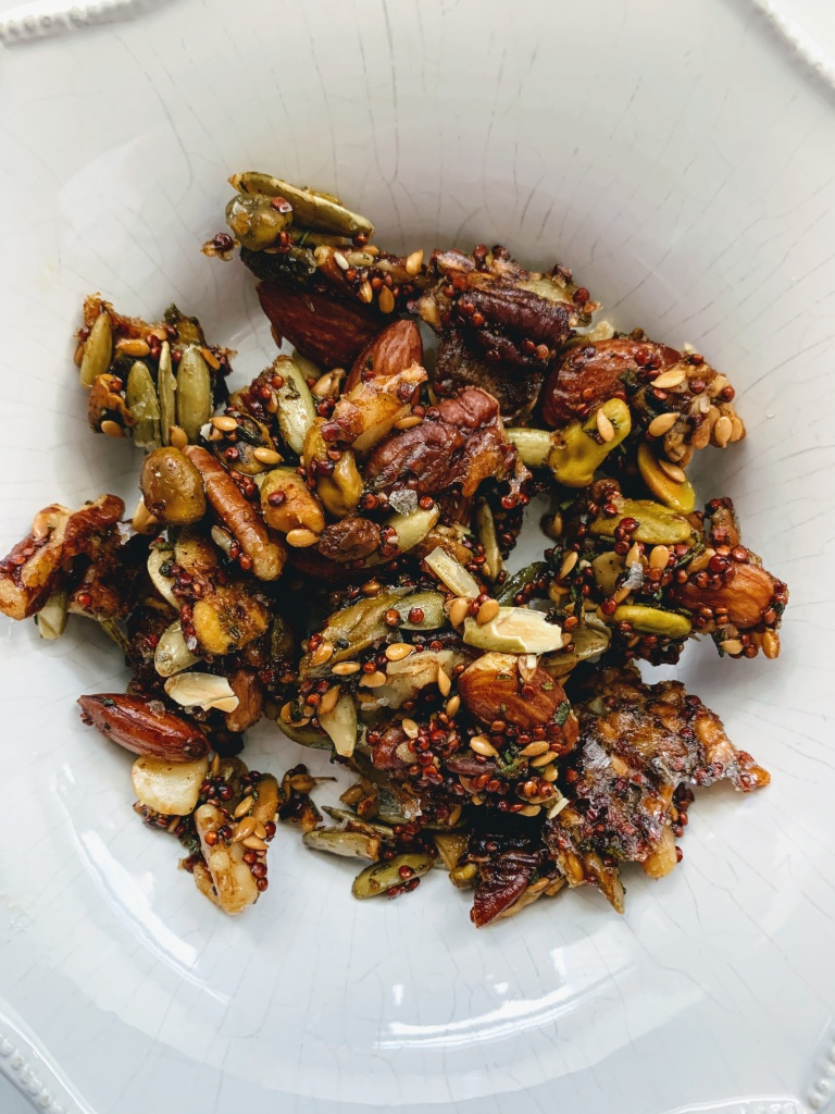 Clumps of rosemary nut mix
